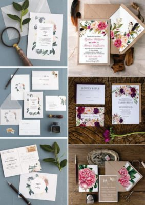 Invitatie nunta Florala - Verde sau Crem Somon
