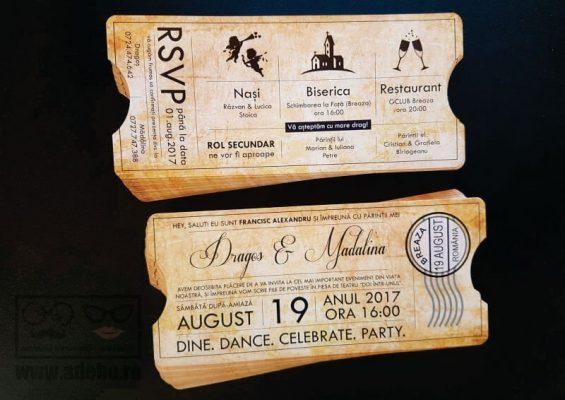 Invitatie nunta bilet cinema