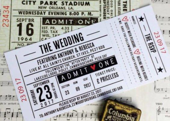 Invitatie nunta bilet tren
