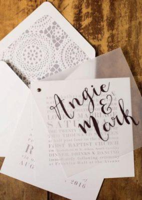 Invitatie nunta carton alb si transparent