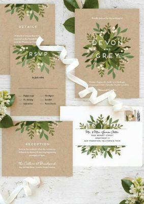 Invitatie nunta carton kraft - frunze verzi