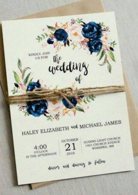 Invitatie nunta crem cu flori albastre