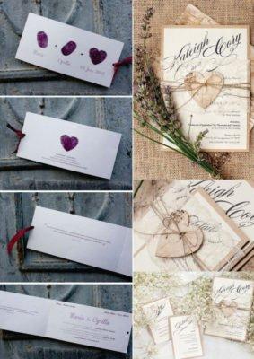 Invitatie nunta cu amprente miri - Invitatie nunta vintage eleganta
