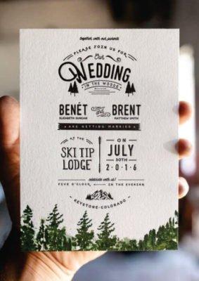 Invitatie nunta cu brazi si munti - carton special