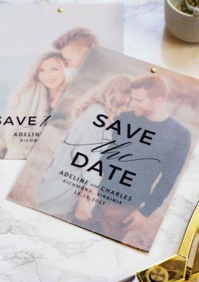 Invitatie nunta cu hartie transparenta si poza miri