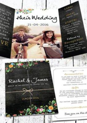 Invitatie nunta cu poza mirilor - elemente florale