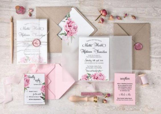 Invitatie nunta cu stampila si motive florale