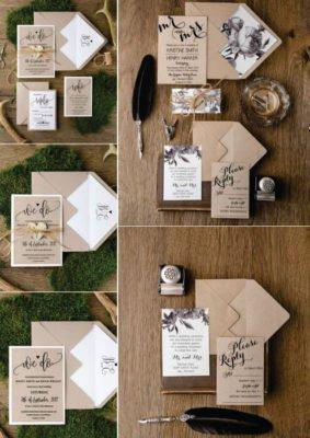 Invitatie nunta culoare maro cu alb si snur cu eticheta inimioara sau cerc
