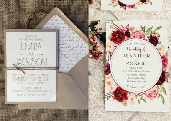 Invitatie nunta eleganta motive florale