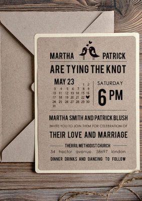 Invitatie nunta eleganta pe carton maro si crem