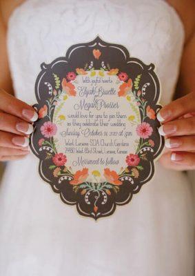 Invitatie nunta florala - colorata - in frame