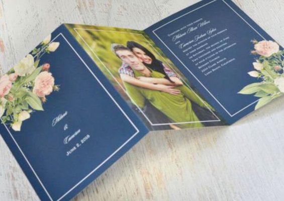 Invitatie nunta florala cu poza mirilor
