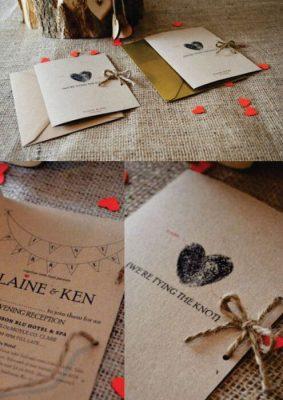 Invitatie nunta pe carton kraft