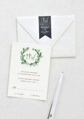 Invitatie nunta pura - culoarea alba si verde