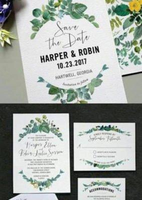 Invitatie nunta simpla - cu frunze verzi