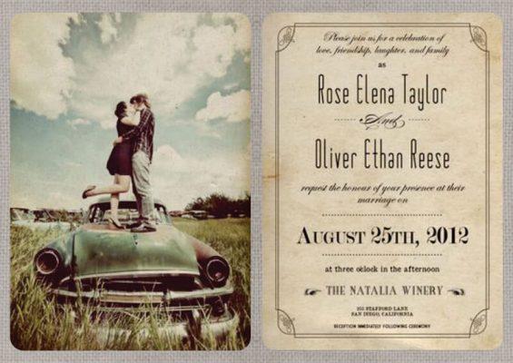 Invitatie nunta veche - vintage