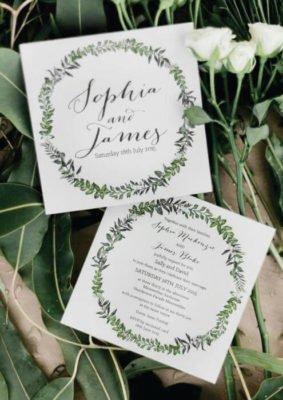 Invitatie nunta verde cu frunze