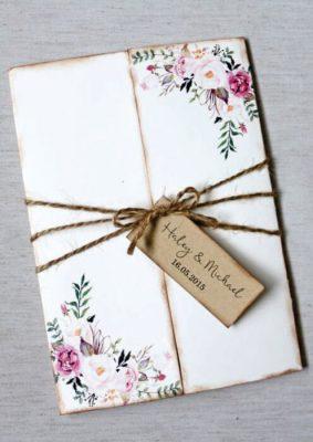 Invitatie nunta vintage - alba florala