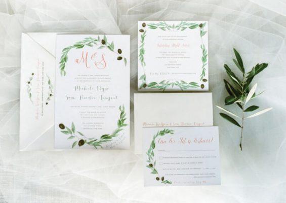 Invitatii nunta verzi - frunze masline
