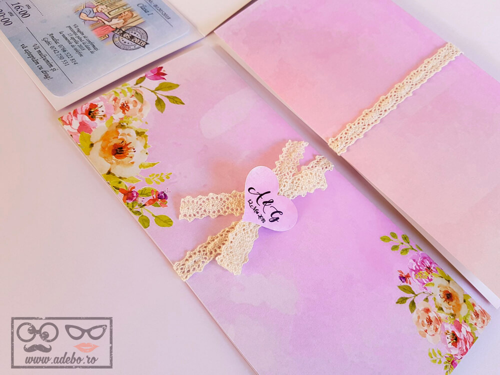 Invitatie de nunta Bilet Tren - Florala si cu dantela (6)
