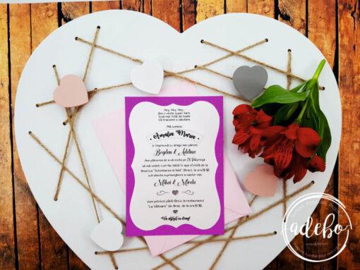Invitatie Botez fete - Roz Fuchsia
