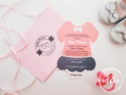Invitatie botez fetita – Fustita Roz