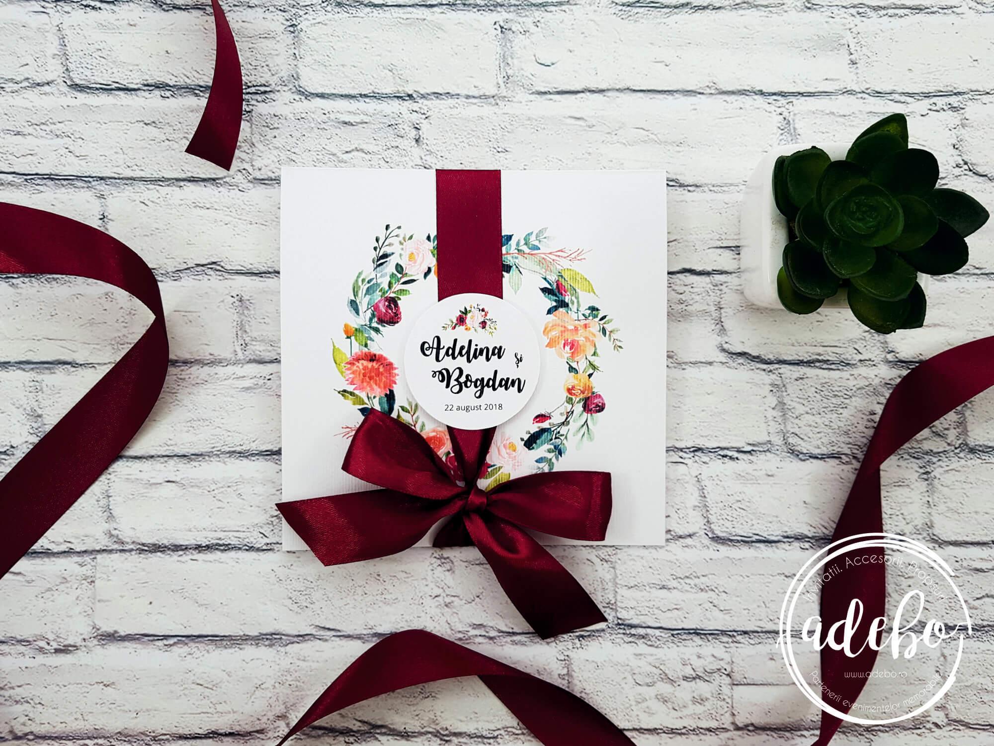 Invitatie de nunta Marsala - florala