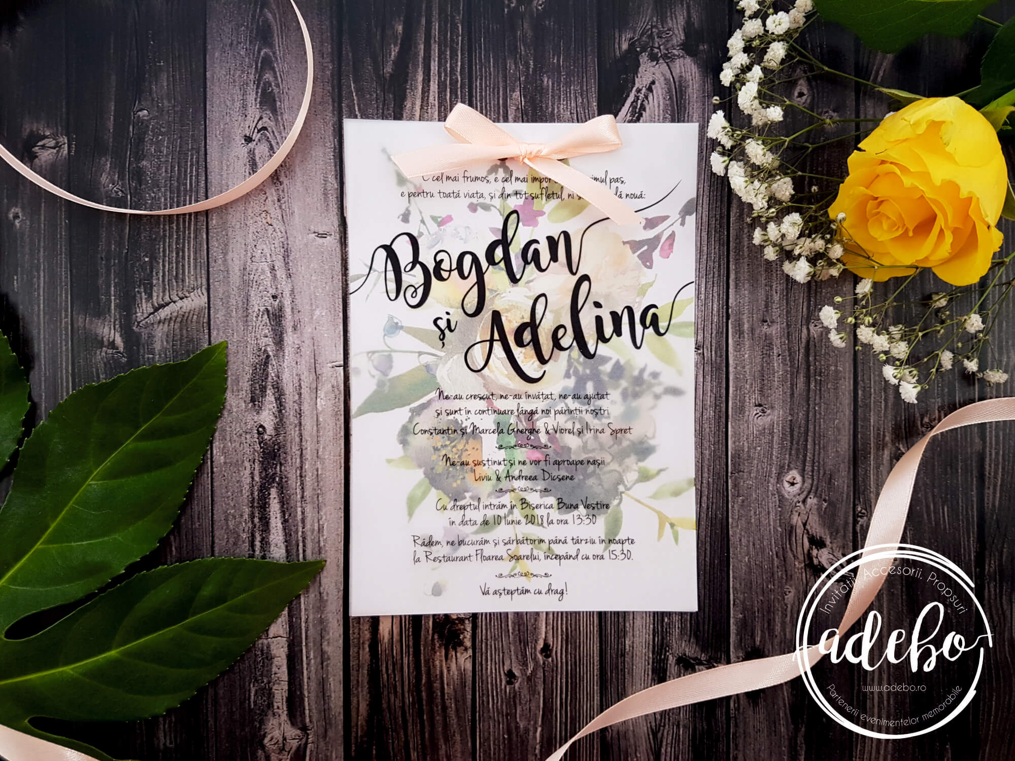 Invitatie de nunta pe foaie de calc - Hartie transparenta
