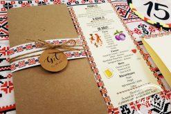 Invitatie - meniu - numar masa nunta motive traditionale