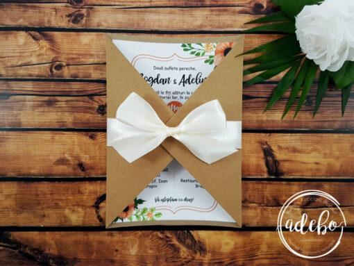 Invitatie nunta Ama - flori portocalii si kraft