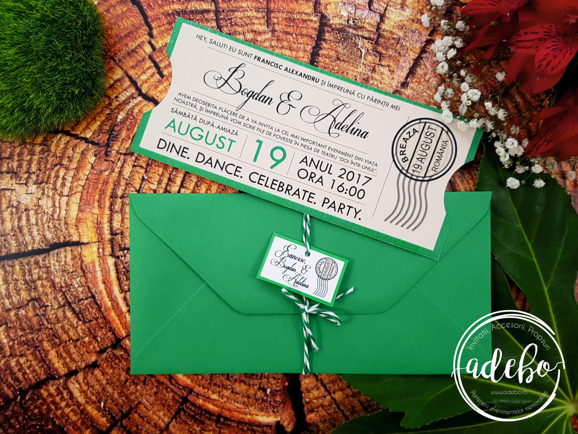 Invitatie nunta Bilet de teatru - culoarea verde