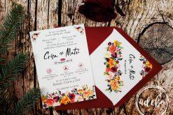 Invitatie nunta Derya - flori marsala