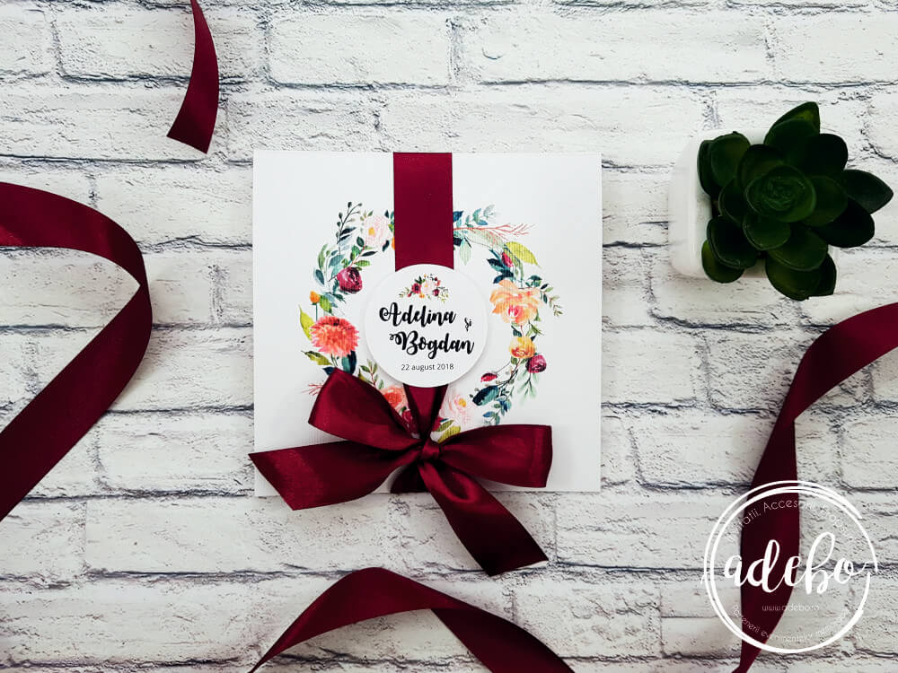Invitatie nunta Flora - marsala