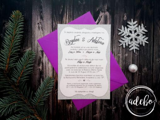 Invitatie nunta Melek - carton sclipici