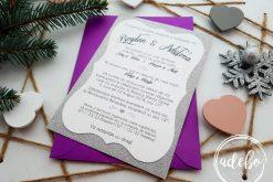 Invitatie nunta Melek - carton sidefat si plic mov