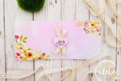 Invitatie nunta Pembe - roz cu flori