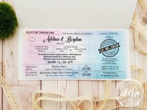 Invitatie nunta Pembe - roz florala