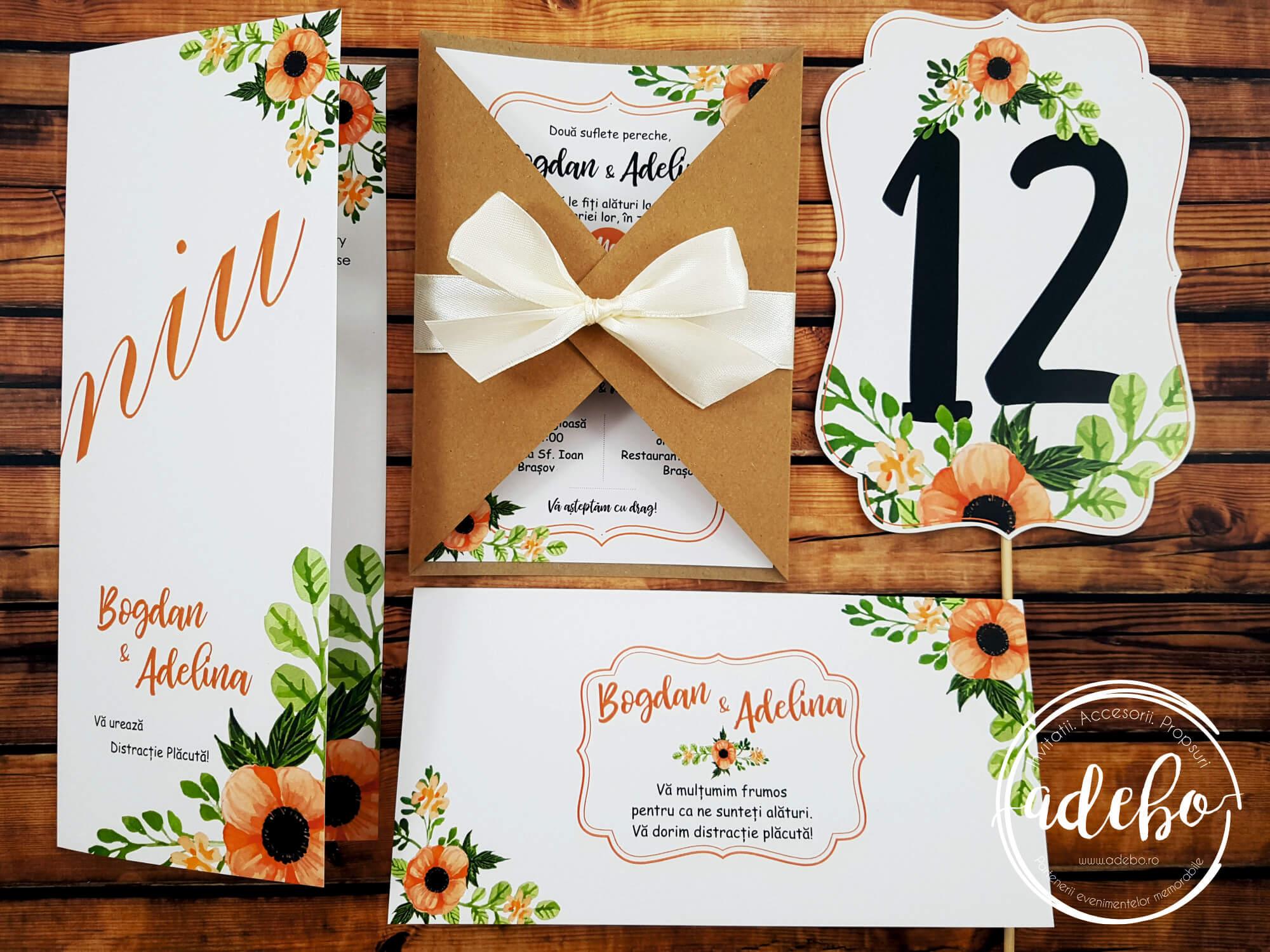 Invitatie nunta florala pe carton kraft cu accesorii