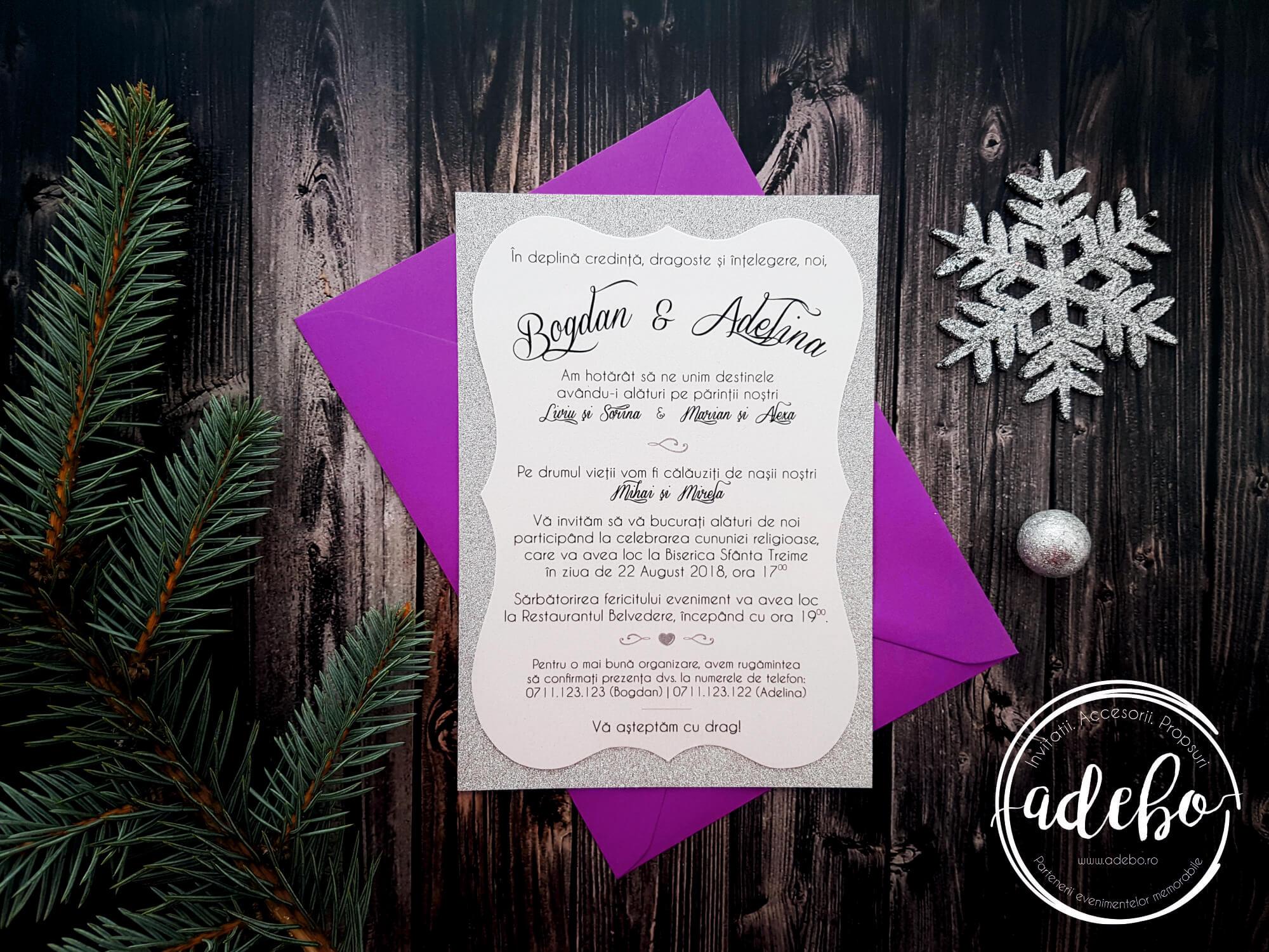 Invitatie nunta pe carton argintiu si sidefat