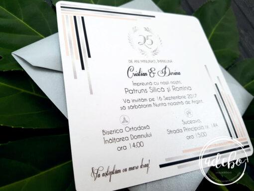 Invitatii nunta argint