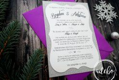 Invitatii nunta carton sidefat cu sclipici si plic ultraviolet - Melek