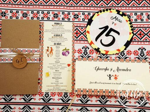 Invitatii nunta cu motive traditionale romanesti