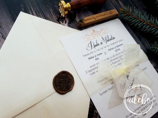 Invitatii nunta cu sigiliu si carton sidefat