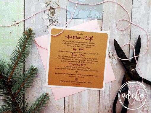 Invitatii nunta kraft si plic roz - Leyla