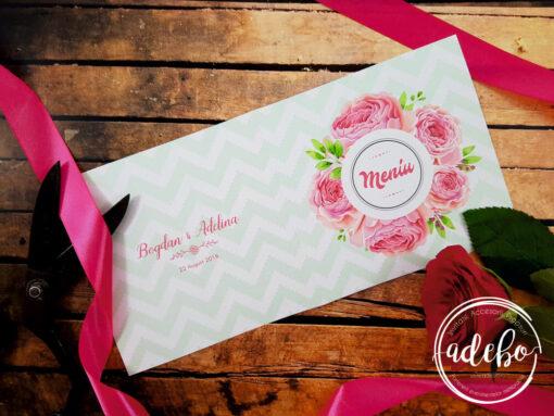 Meniu nunta deschis - flori Bujori