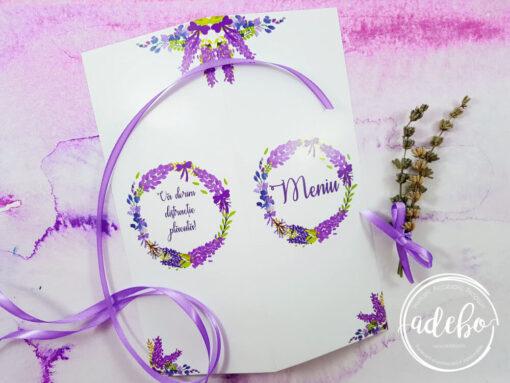 Meniu nunta personalizat Lavanda