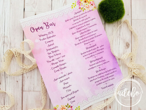 Meniu nunta rozi flori - Pembe