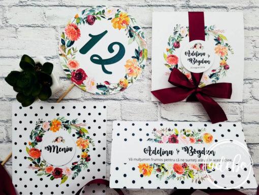 Pachet invitatii nunta - meniu - plic bani - nr masa