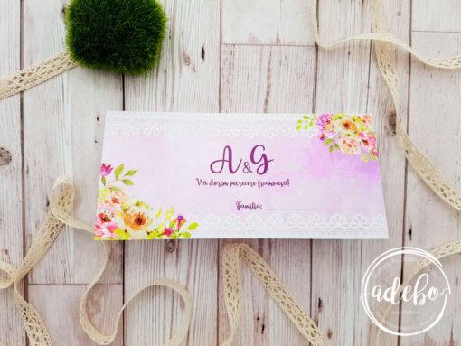 Plic bani nunta - roz flori - Pembe