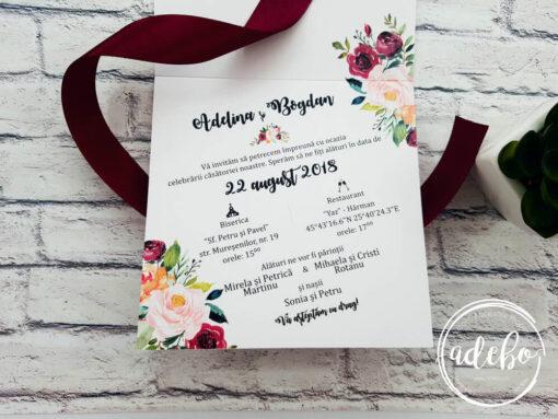invitatie nunta marsala - flori